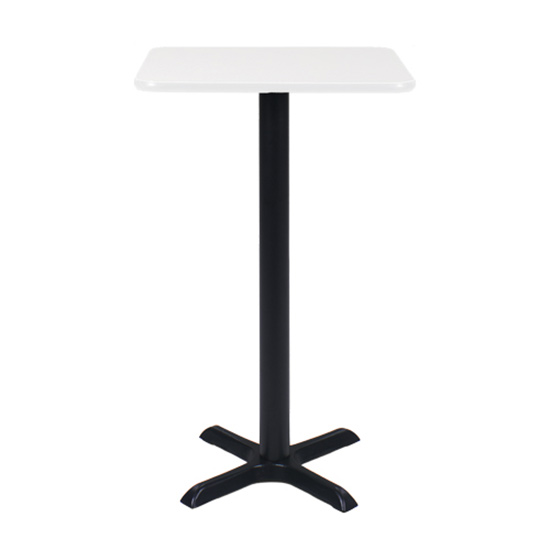 24″ Square Bar Table - White with Black Base