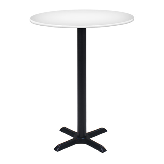 36″ Round Bar Table with Black Base - White