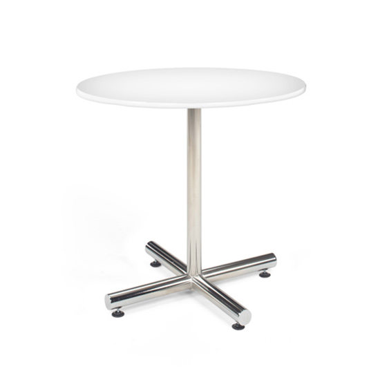 36″ Round Cafe Table - White with Chrome Base