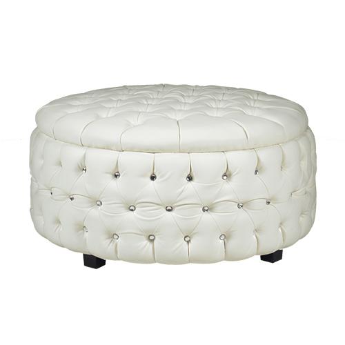 Crystal Round Ottoman - White