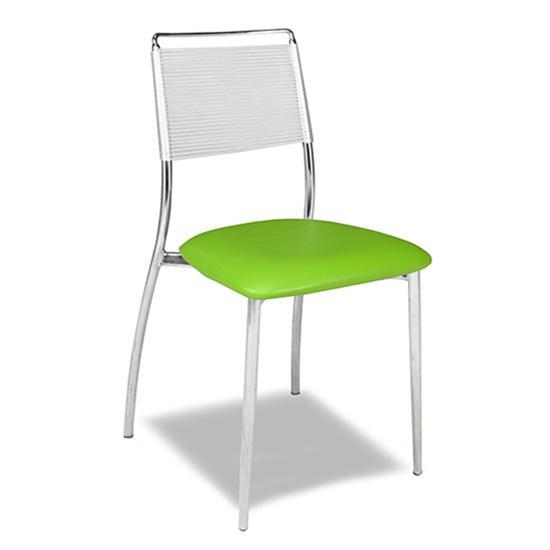 Silk Back Chair, Armless - Green