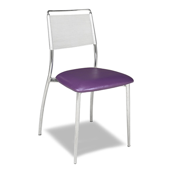 Silk Back Chair, Armless - Purple