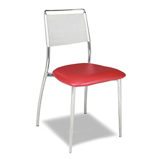 Silk Back Chair, Armless - Red