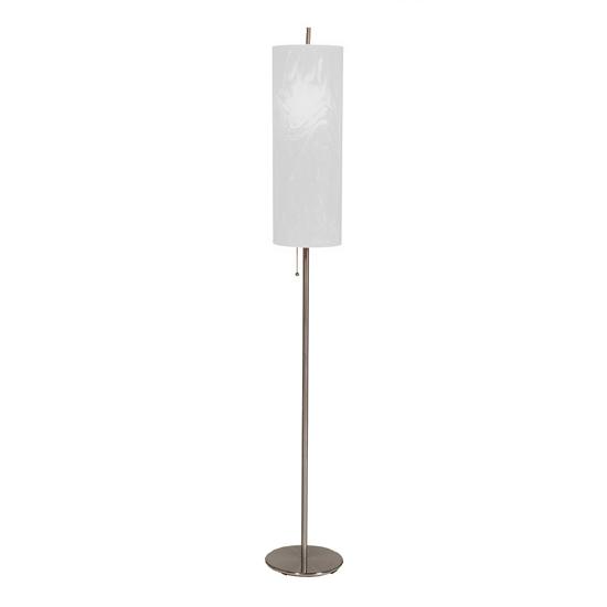 Brushed Steel Floor Lamp - White Moire Shade