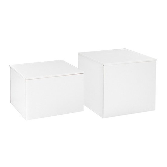 Cube End Table - White